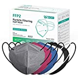 IDOIT FFP2 Mund- und Nasenschutz Maske, 20 Stück 5 farbige CE zertifizierte bunte Atemschutzmasken mit 5-lagige Filtration,einzeln verpackt