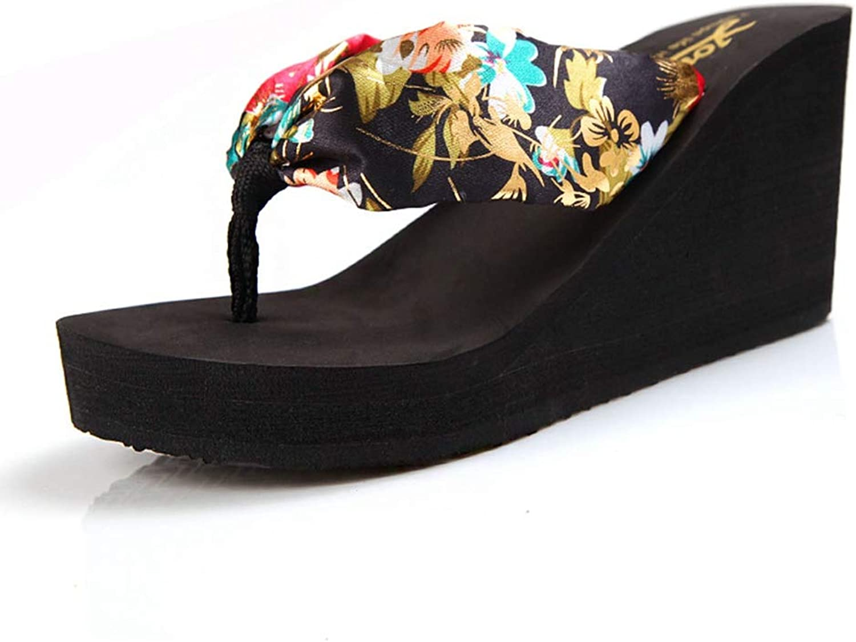 T-JULY Summer Women Leopard Wedge Flip Flops Platform Sandals Sexy Ladies Slides High Heel Slippers