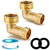 YELUN Garden Hose Elbow Connector 90 Degree Solid Brass Pipe Fittings Hose Elbow -Eliminates Stress and Strain On RV Water Intake Hose Adapter 3/4