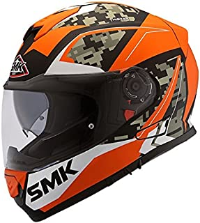 SMK Men's Twister Zest Pinlock Fitted with Clear Visor Gloss (Matt Black, Orange and White, Medium)