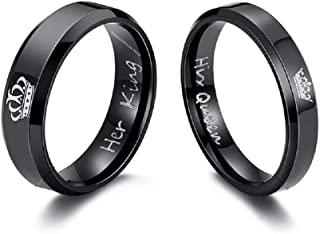 4f54d02fb University Trendz 2PCS Her King His Queen Black Titanium Stainless Steel  Couple Rings, Anniversary,