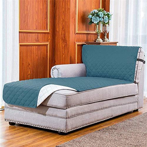 BANNAB Protector Reversible para sofá Chaise, Protector de Muebles Lavable, Chaise Lounge para Mascotas, Perros con Correa elástica Ajustable 102 x 34 Pulgadas