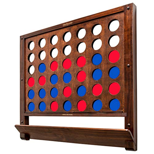 GoSports Wall Mounted Giant 4 in a Row Game - Jumbo 4 Connect Family Fun with Coins, Brown