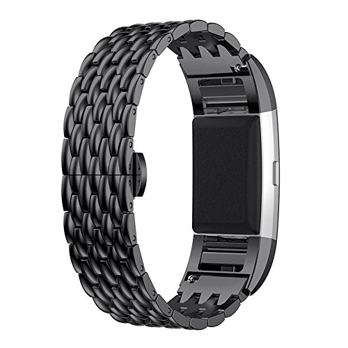 Fitbit Charge 2 Armband, AISPORTS Fitbit Charge 2, Edelstahl, Fischschuppen-Muster, Ersatzarmband mit Metall-Armband Schnalle für Fitbit Charge 2 Fitness-Zubehör