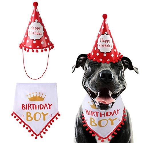 iFCOW Hond Verjaardag Bandana Driehoek Sjaal Leuke Kegel Hoed Doggie Verjaardag Party benodigdheden, Rood