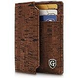 Boston Kartenetui mit Münzfach - TÜV geprüfter RFID- & NFC Schutz - Geschenk für Damen und Herren - Inklusive Geschenkbox - erhältlich in 2 Farben (Dunkelbraun Kork)