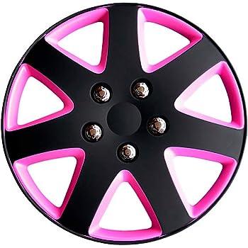 Set di 4 coprimozzi universali NRM copricerchio in nero rosa 14 4x Copriruota in nero rosa 14 pollici STRONG da NRM