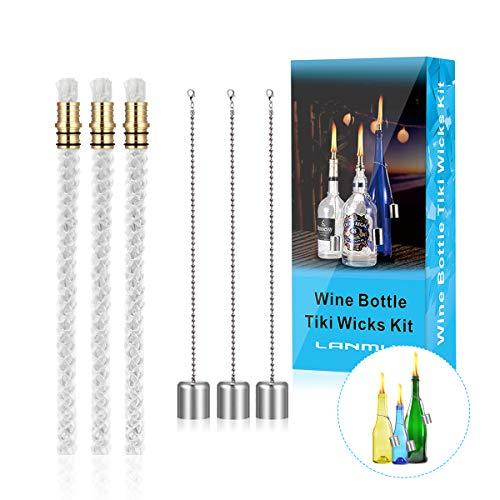 LANMU Ersatzdocht,3 Set Glasfaserdocht Runddocht Öllampe Dochte Garten Balkon Sommer Deko. für DIY Weinflasche Lampe/Gartenfackel/Bambusfackel (mit Deckel)