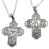 Sicuore Collar Colgante Cruz Escapulario para Mujer Hombre - Plata de Ley 925 Incluye Cadena 45cm Y...