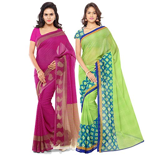 Anand Sarees Georgette with Blouse Piece Saree (Pack of 2) (Combo_1115_2_1168_3_Multicoloured_OS)