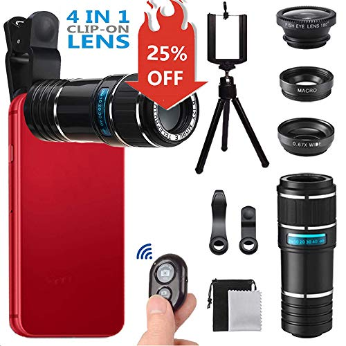 Phone Camera Lens for Iphone , MSDADA Telephoto Lens Kit, 12X Optical Telescope, Fisheye, Wide Angle...