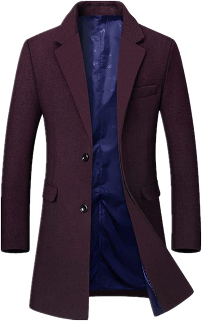 Men Wool Blends Coats Fashion Solid Color Middle Long Overcoat Business Casual Wool Coat