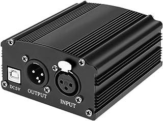 Healifty Phantom Power Supply 48V DC Durable 5V USB Power Supply Recording Equipment for Broadcasting Mic Condenser (Black)