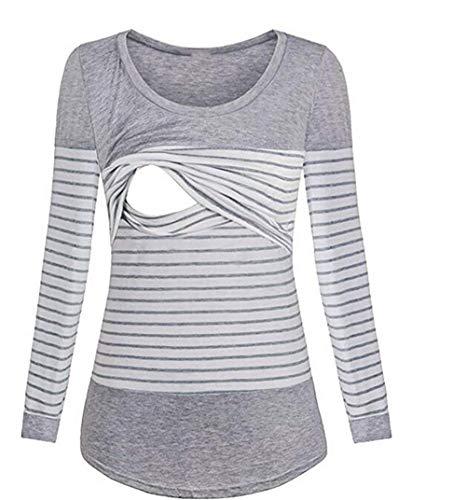 Damen Schlafanzug Umstands Pyjama Frauen Stillen Nachthemd Kleid Stilloberteile Frauen Herbst und Winter Langarm gestreift Stillen Langarm
