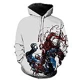 Hflyy Kid Spiderman Pullover Superhéroe Sudadera con Capucha Suéter 3D Print Carnage Venom Sudadera con Capucha Adultos Niños Jumpers Chándales Ropa De Entrenamiento Disfraz,White-Adult~5XL