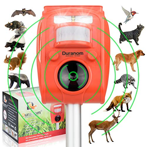 DURANOM Ultrasonic Animal Repeller Outdoor Solar Powered with Motion Sensor and Strobe Light