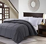 MANZOO Queen Comforter Duvet Insert Quilted Comforter with Corner Tabs, Plush Siliconized Fiberfill, Box Stitched Down Alternative Comforter - Machine Washable - 88' x 88', Grey Color