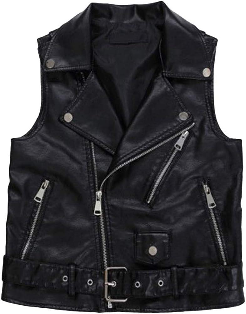 Cutecc Women PU Leather Punk Zipper Sleeveless Vests Jacket with Pockets