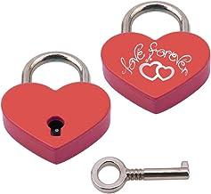BaiJ Gegraveerd hart hangslot, liefde hangslot in hartvorm met sleutel voor bagage handtas dagboek Valentijnsdag cadeau go...