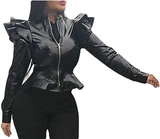 Women's Leather Jacket Zip up Long Sleeve Ruffle Hem Bodycon Sexy Fall Coat