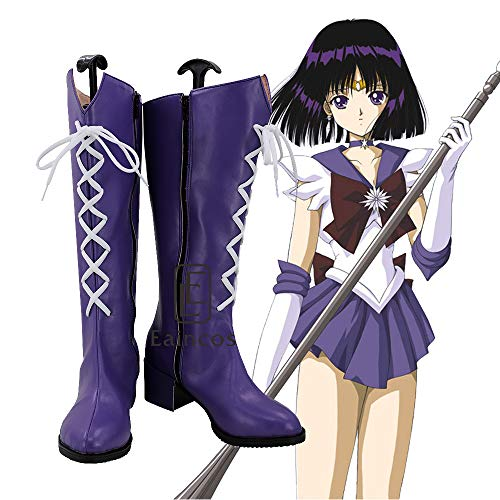 WSJDE Anime Sailor Moon Sailor Saturn Tomoe Hotaru Cosplay Schuhe Lila Stiefel Maßgeschneidert 41