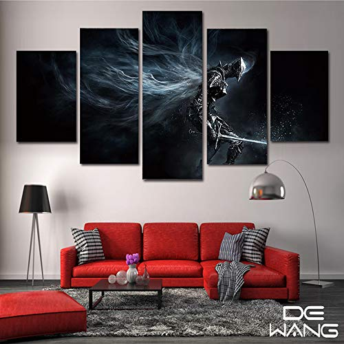 PEACOCK JEWELS Premium Quality Canvas Printed Wall Art Poster 5 Pieces / 5 Panels Wall Decor Dark Souls Painting, Home Decor Pictures - Stretched