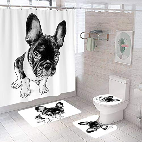 XVWJ 4Pcs Cute Dog Shower Curtain Set with Non-Slip Rug, Toilet Lid Cover and Bath Mat,Puppy Shower Curtains with 12 Hooks,Animals Shower Curtain Sets for Bathroom