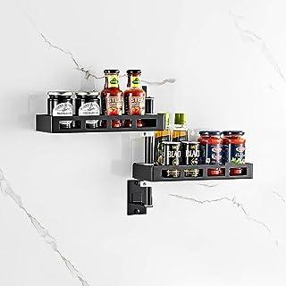 YJKDM Support de Rangement Rotatif pour ustensiles de Cuisine, Support à épices Mural, Organisateur de Fournitures de Cuis...