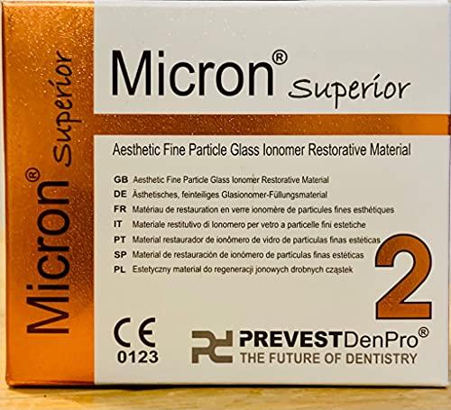 Prevest Micron Superior 2 - Material restaurador de ionómero de partículas finas estéticas, para reparaciones dentales permanentes y rellenos