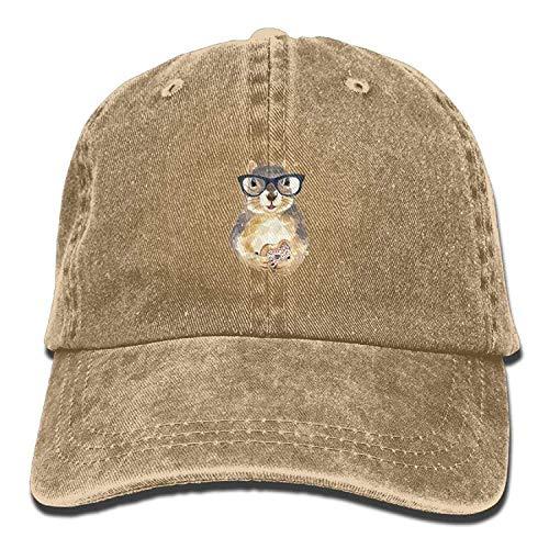 Rundafuwu Baseballmützen/Hat Trucker Cap Nerdy Squirrel with Glasses Dessert Unisex Adjustable Baseball Cap Natural,Wear Comfortable