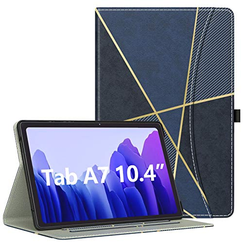 Dadanism Galaxy Tab A7 10.4 Case 2020 (SM-T500/T505/T507), with Flexible Hand Strap & Card Slot, [Multi-Angle Viewing Stand] Shockproof Protective Cover for Samsung Tab A7 Tablet - Geometric Dark Blue