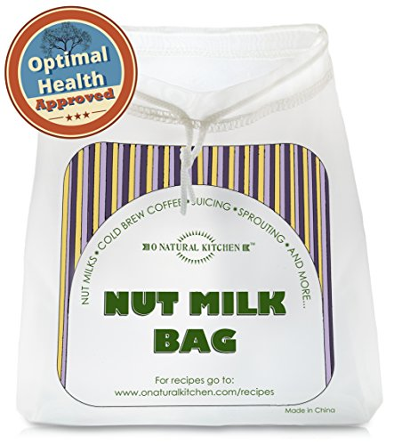 """Nut Milk Bag - Best Reusable Commercial Grade All Purpose Premium Filter Strainer - Stand Alone Press Fine Nylon Cloth - for Juicing, Cold Brew Coffee & Almond, Hemp & Rice Maker - Natural Sustainable Eco Large 12""""x 12"""""""