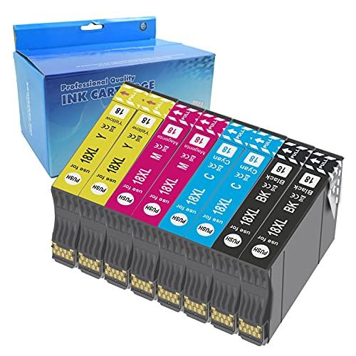 Teng 8X 18XL Cartuchos de Tinta Compatible con Epson 18 18XL para Epson Expression Home XP-205 XP-212 XP-215 XP-225 XP-302 XP-305 XP-312 XP-315 XP-322 XP-325 XP-402 XP-405