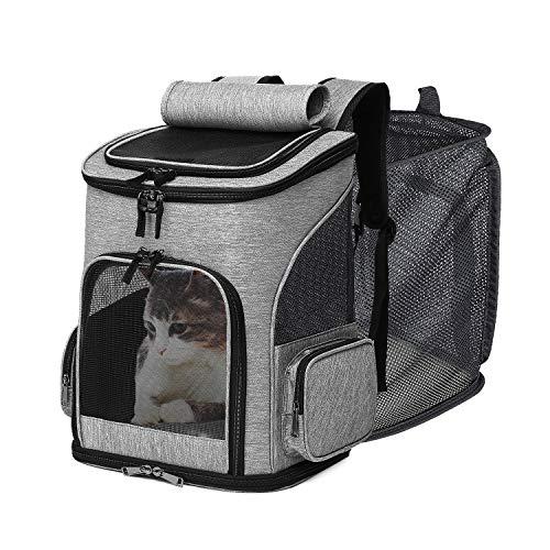 Wooce 猫キャリー バッグ ペットキャリーバッグ ペットバッグ リュック ペットハウスリュック 拡張可能 折りたたみ可 猫 犬 小型犬 うさぎ 通気性抜群 お出かけ用 旅行 通院 緊急避難 敷き付き(グレー)