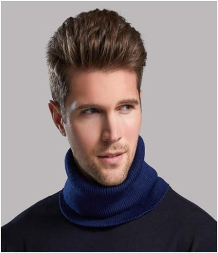 JJW Men's Scarf Double-Layer Thick Neck Warmers Fleece Heat Thermal Neck Winter for Men Neck Warmer Men The Best Gift for Parents Soft Scarf (Color : Navy Blue)