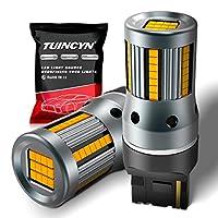 TUINCYN 7440 W21W T20 LED電球アンバーイエローターンシグナルライト、内蔵高デコードレート負荷抵抗器54個LEDクリークリーチップアンチハイパーフラッシュエラーコードブリンカー交換(パック2個)