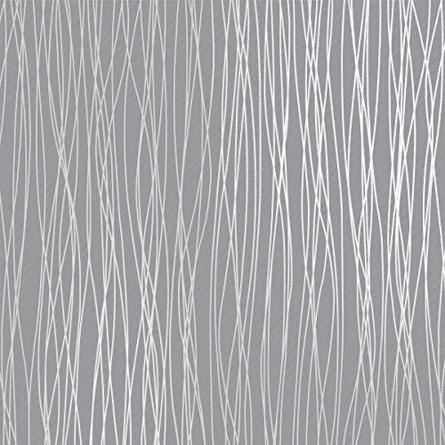 Non-Woven Modern Wallpaper, Print Embossed Classic Plain Stripe Moonlight Forest Wallpaper For Livingroom Bedroom, Silver Grey (20.8In x 32.8Ft)