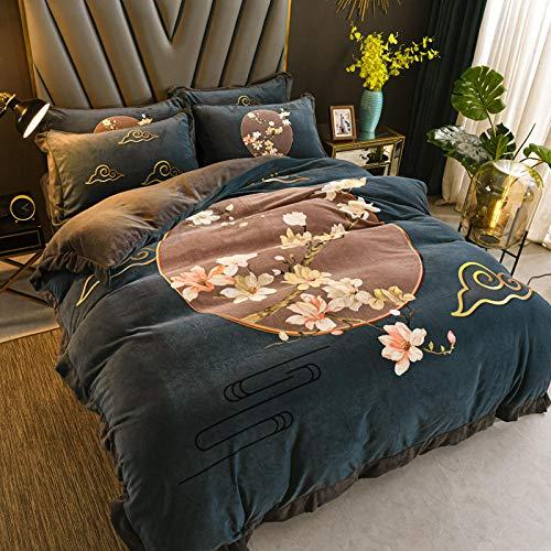 Funda Nórdica de Suave,Juego de funda nórdica con estampado de franela gruesa y cálida,funda de almohada con sábana con volantes de invierno en casa de familia para dormitorio J 150 * 200cm(3pcs)