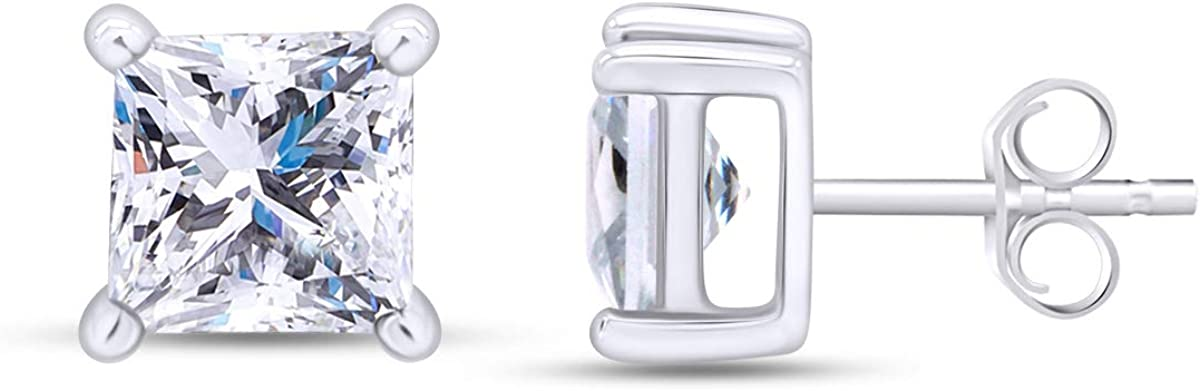 Max 69% OFF Max 66% OFF Princess Cut Simulated White Sapphire Solitaire Stud Earrings In