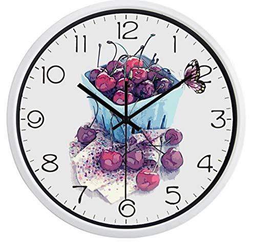 wangjingjing1 Vintage Cherry Fruit Restaurant Wandklok, Niet tikken Geluid Glas Cover Metalen Stoere Klok 12 inch