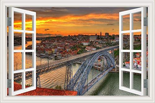 3D-Fenster Landschaft Moderne Stadt berühmte Wahrzeichen Gebäude Sonnenaufgang Sonnenuntergang Wandaufkleber PVC Aufkleber Wohnzimmer Schlafzimmer Büro Dekor Wandbild Poster