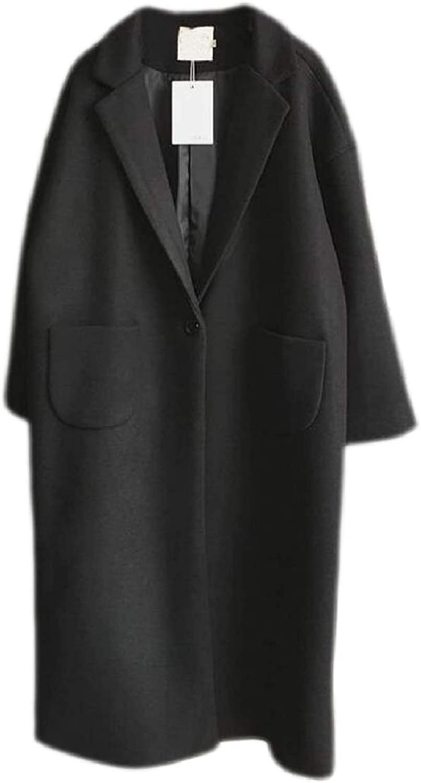 CBTLVSN Women's Wool Blend Lapel Casual Oversize 1 Button Pea Coat