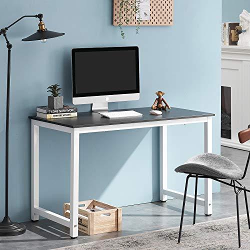 Symylife Escritorio para computadora Moderno Mesa de Trabajo Mesa para computadora Estación de Trabajo Escritorio de Oficina con Madera y Metal Acero, 120x60x75cm, Negro + Blanco