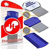 Head Lice Comb 3 Pcs for Fast Nit and Lice Removal - Best Results from HandyHealer, Package & Colors May Vary