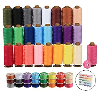ilauke 50Pcs Bobbins Sewing Threads Kit 400 Yards per Polyester Thread Spools Prewound Bobbin with Case for Brother Singer Janome Machine 25 Colors