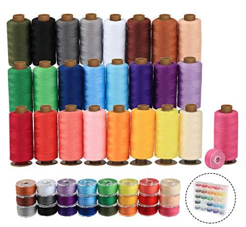 ilauke 50Pcs Bobbins Sewing Threads Kit, 400 Yards per Polyester Thread Spools,...