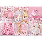 Papel Pintado Fotográfico Premium Plus fotográfico pintado–cuadro de pared–Cupcake Cigüeña Baby–Zapatos para bebé Galletas–No. 3338, Rosa, 416x254cm Vlies