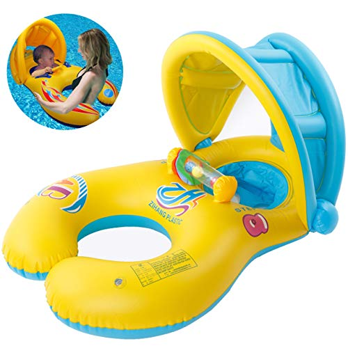 Inflable Anillo de Natación para Madre y Bebé con Sombrilla Desprendible, Flotador Hinchable de Piscina para Niño con Asiento, Inflable Juguetes 0-3 años