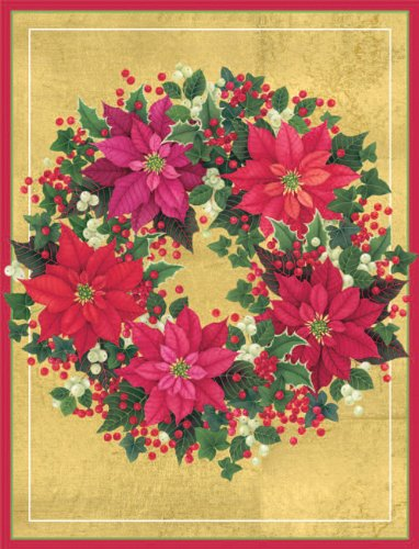 Entertaining with Caspari Poinsettia Wreath Christmas Cards with Unlined Envelopes, Box of 16