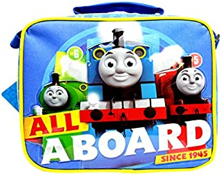 """Team Thomas the Train Engine"""" ALL ABOARD"""" Canvas Blue Insulated Lunch Bag"""